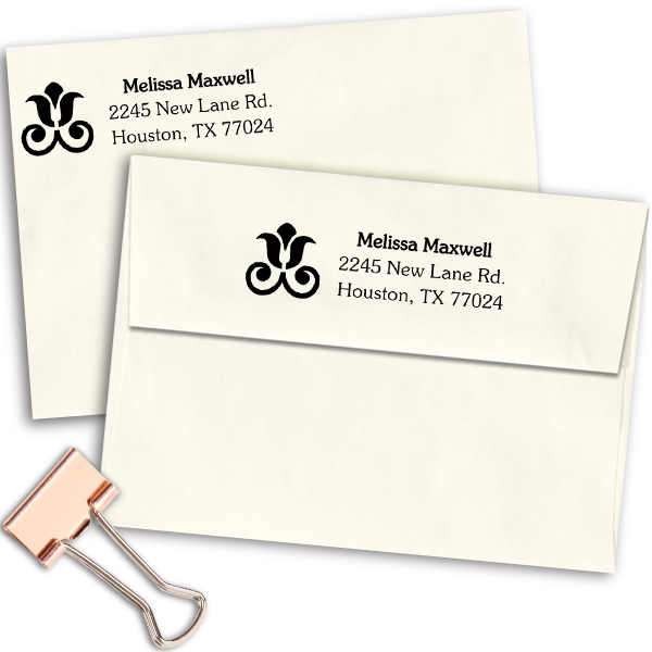 Rose Decor Address Stamp Imprint Example