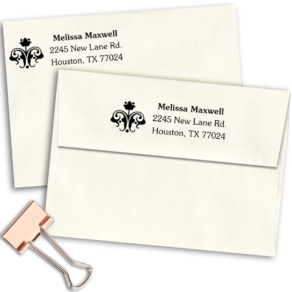 Flower Ornament Address Stamp Imprint Example