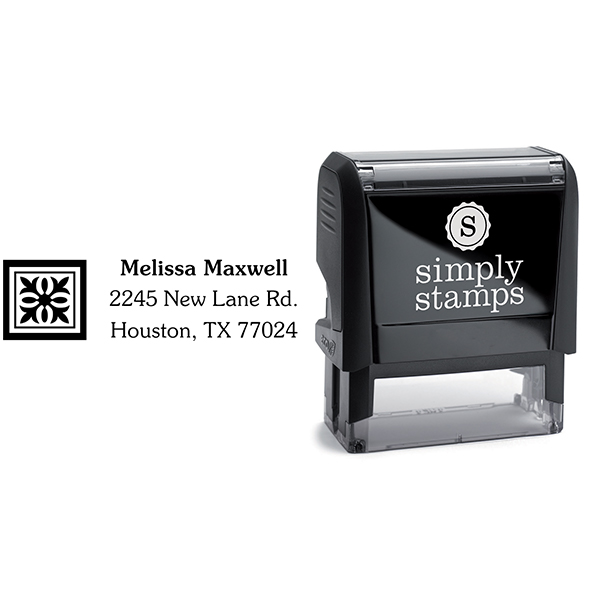 Deco Square Address Stamp Body and Design