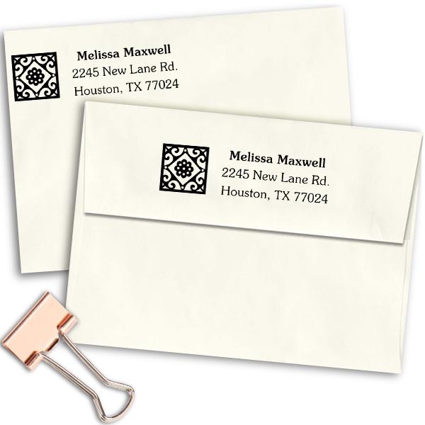 Deco Tile Address Stamp Imprint Example