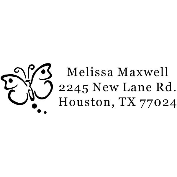 custom butterfly address stamp design