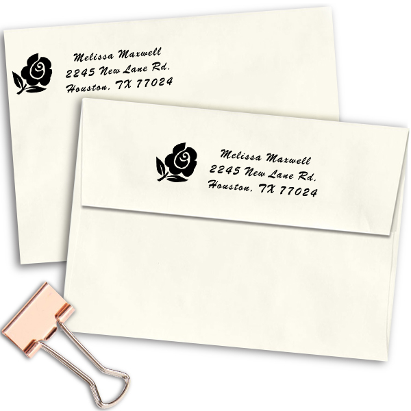 Rose Bud Address Stamp Imprint Example