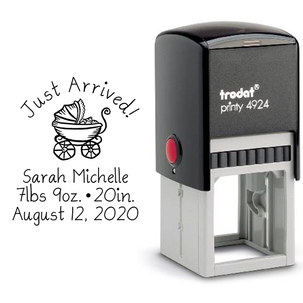 Just Arrived Baby Announcement Rubber Stamp Body and Design