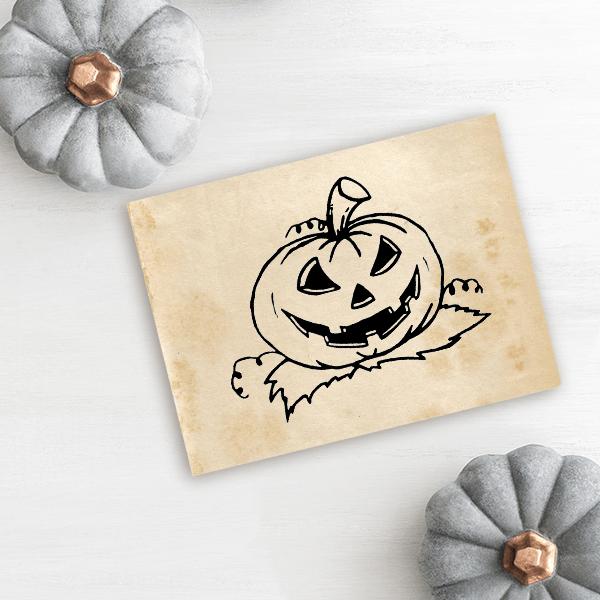 Evil Pumpkin Halloween Rubber Stamp Imprint Example