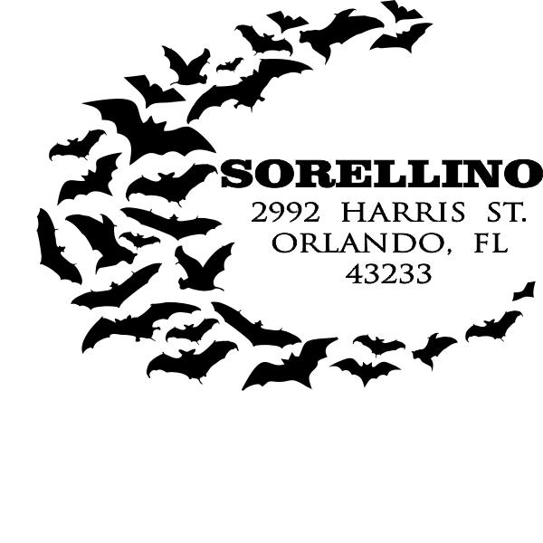 Halloween Bats Return Address stamp