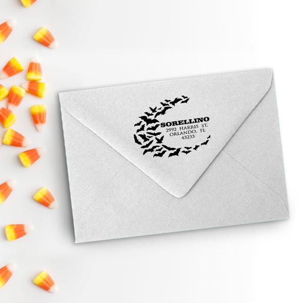 Flying Bats Return Address Stamp Imprint Example