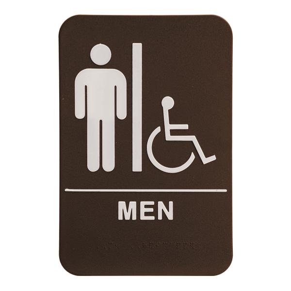Brown Men's Handicap ADA Braille Restroom Sign