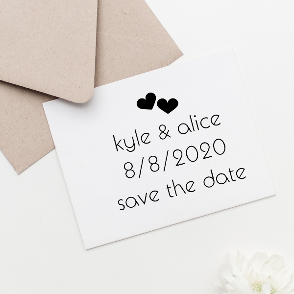 Save the Date Twin Hearts Stamp Imprint Example