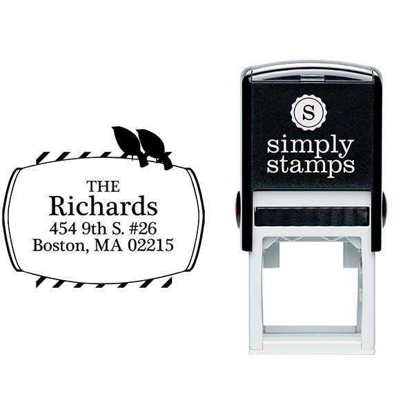 Perched Birds Address Stamp Body and Design