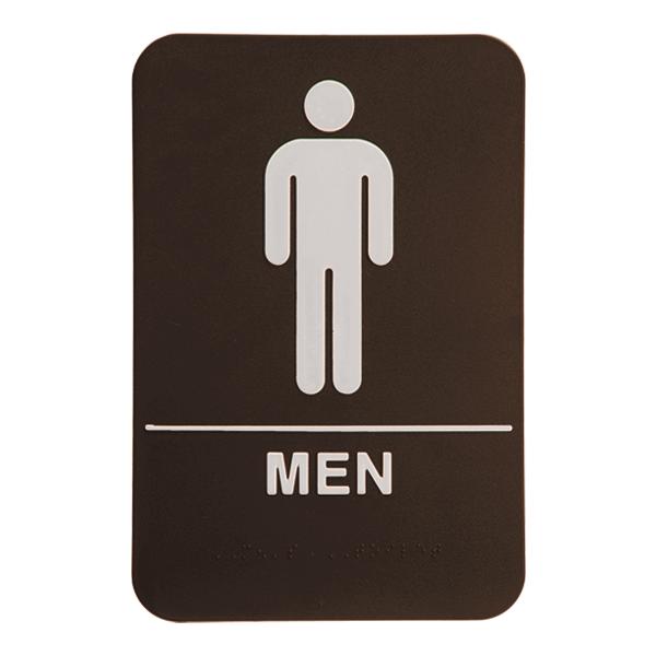 Brown Men's ADA Braille Restroom Sign