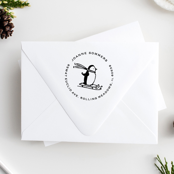 Sledding Penguin Holiday Address Stamp Imprint Example