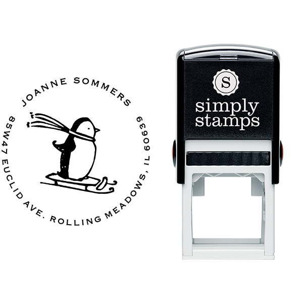 Sledding Penguin Holiday Address Stamp Body and Design