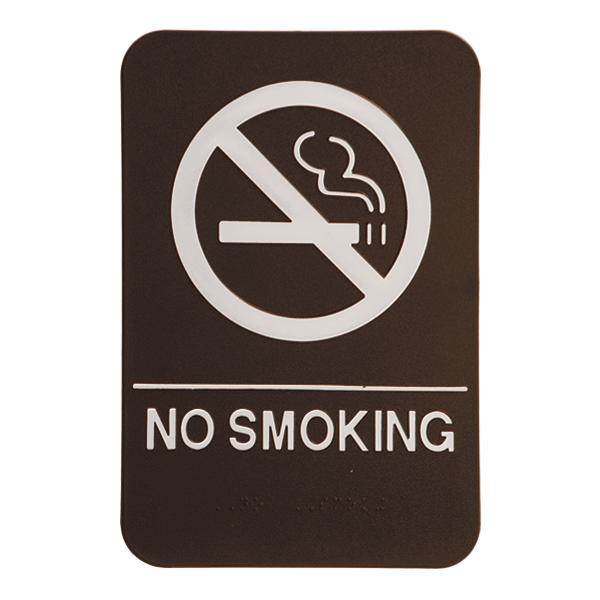 Brown No Smoking Sign w/ Braille