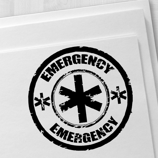 Round Emergency Stamp Imprint Example