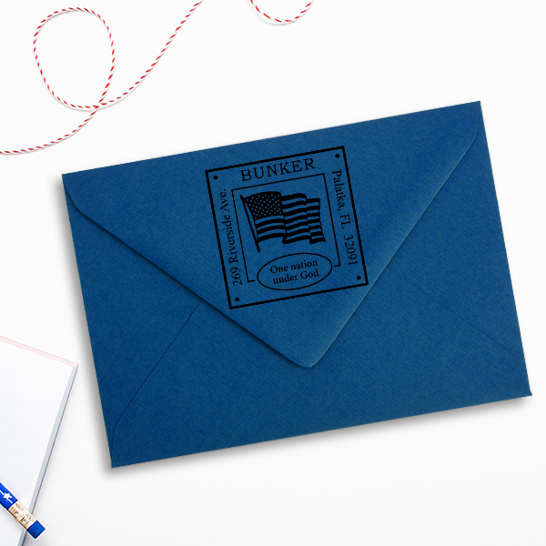 Patriotic Address Stamp Imprint Example