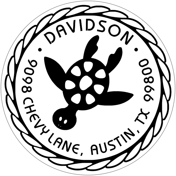 Round Turtle Address Stamp