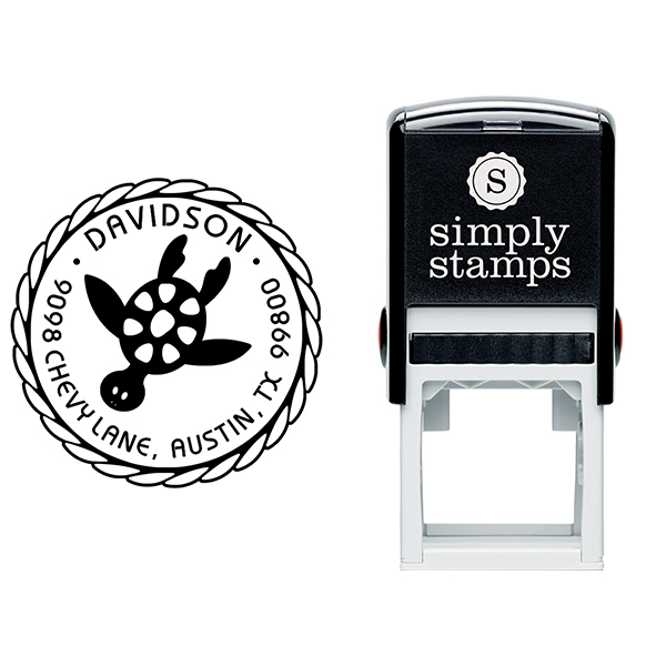 Round Turtle Address Stamp Body and Design