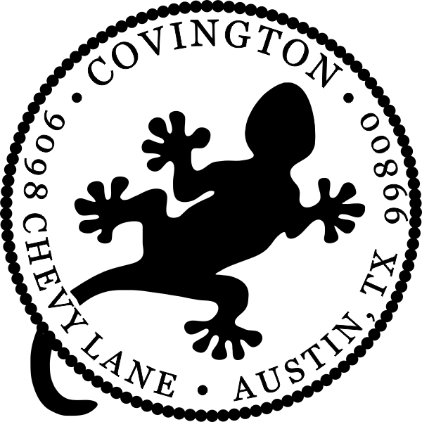 Round Gecko Address Stamp