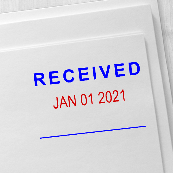 Self-Inking 'Received' Dater Stamp Blue and Red Imprint