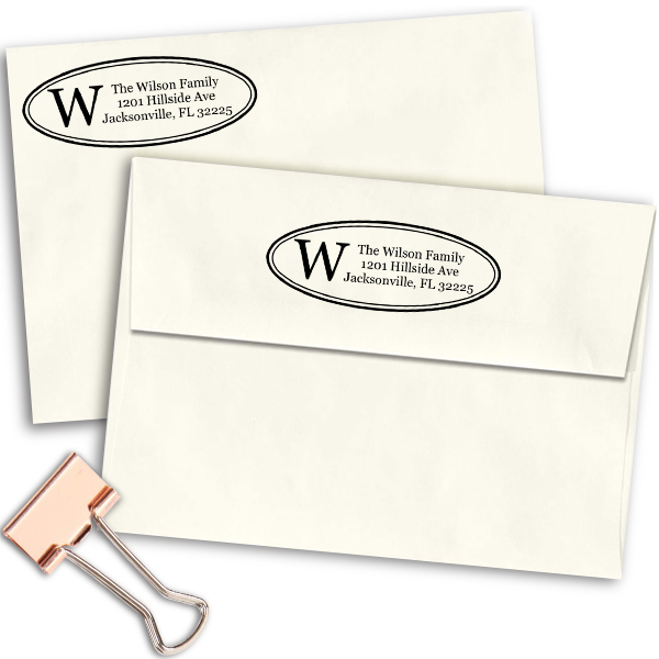 Monogram Oval Address Stamp Imprint Example