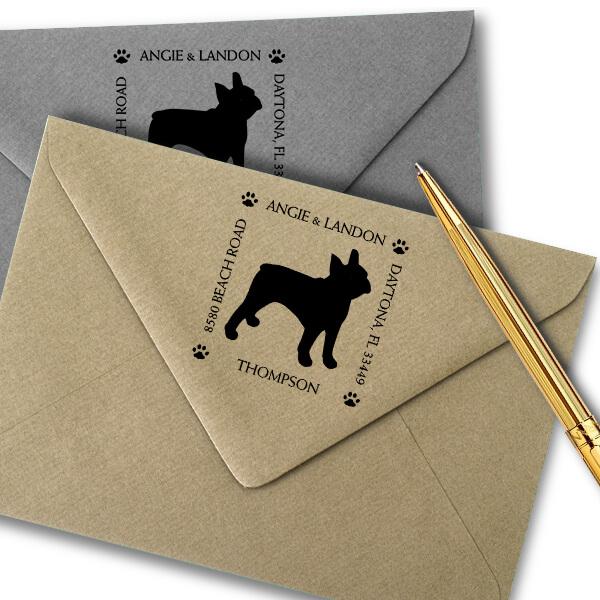 Boston Terrier Pet Lover Dog Return Address Stamp Imprint Example