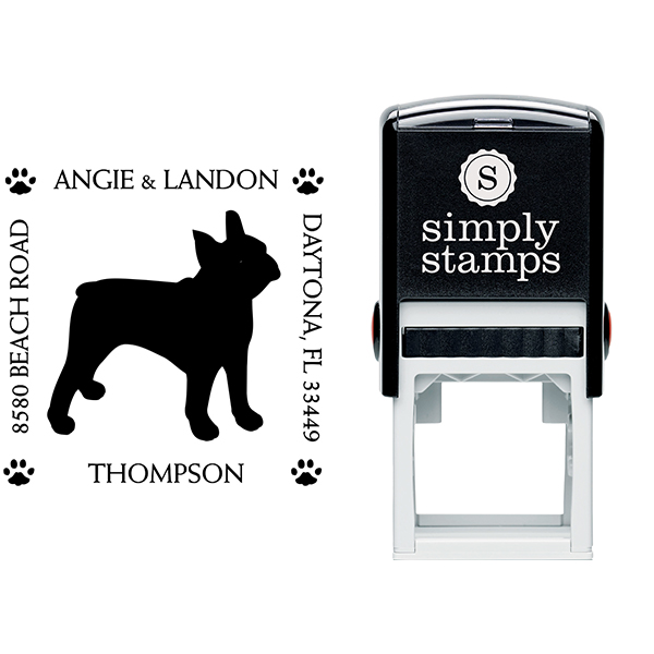 Boston Terrier Pet Lover Dog Return Address Stamp Body and Design