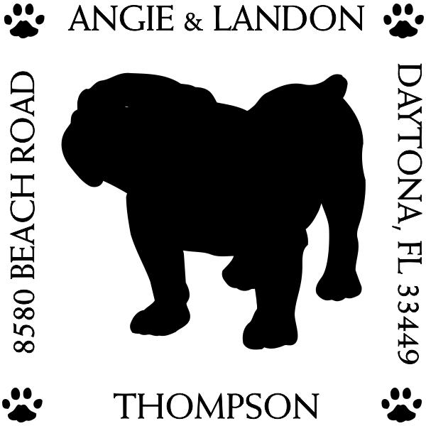 English Bulldog Pet Lover Dog Return Address Stamp