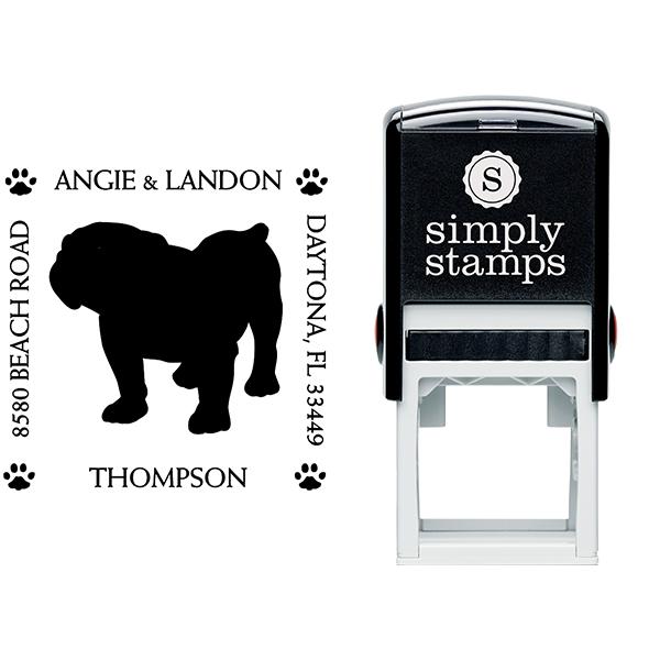 English Bulldog Pet Lover Dog Return Address Stamp Body and Design