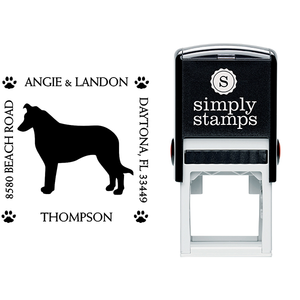 Border Collie Pet Lover Dog Address Stamp Body and Design