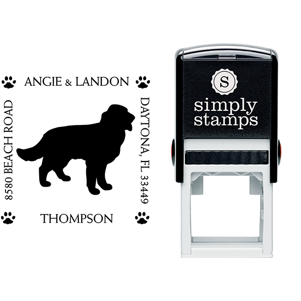 Golden Retriever Pet Lover Dog Return Address Stamp Body and Design
