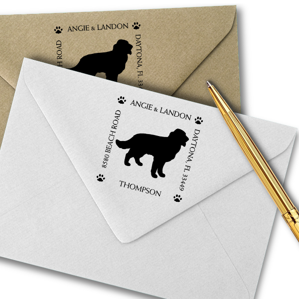 Golden Retriever Pet Lover Dog Return Address Stamp Imprint Example