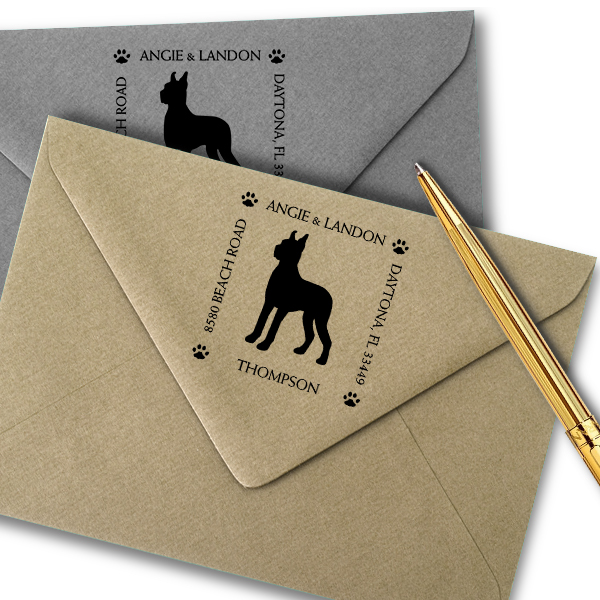 Great Dane Pet Lover Dog Address Stamp Imprint Example