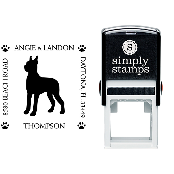 Great Dane Pet Lover Dog Address Stamp Body and Design