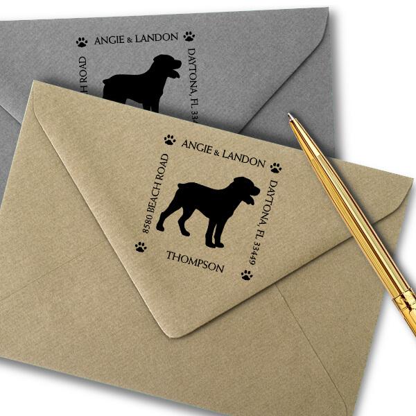 Rottweiler Pet Lover Dog Address Stamp Imprint Example