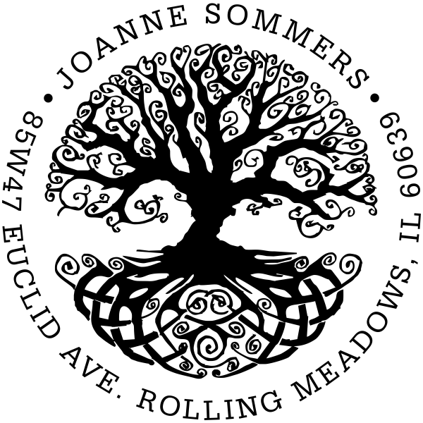 Tree of Life Round Rubber Address Stamp