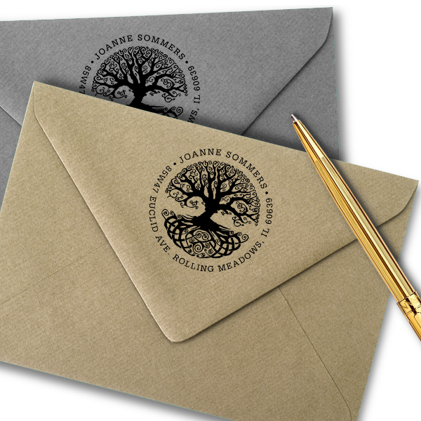Tree of Life Return Address Stamp Imprint Example
