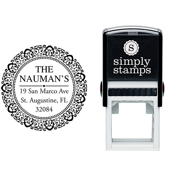 Harrison Round Return Address Stamp Body and Design