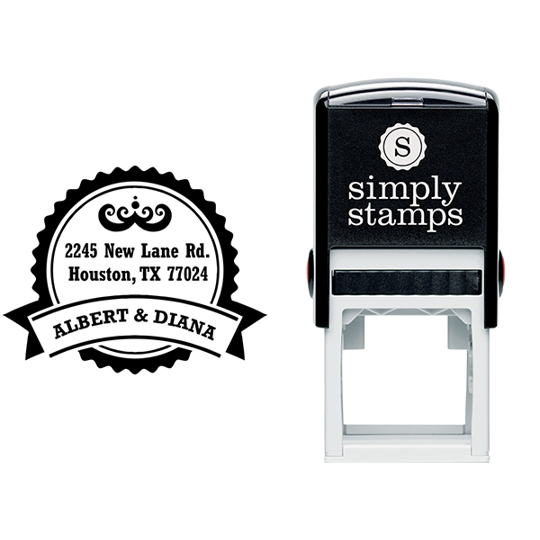 Diana Round Return Address Stamp Body and Design