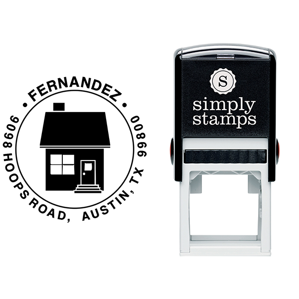 Home Round Return Address Stamp Body and Design