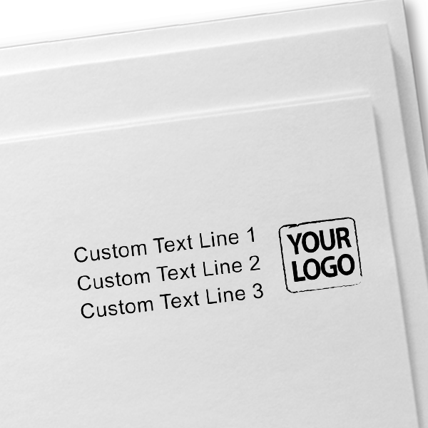 Custom Rubber Logo Stamp with Text Imprint Example