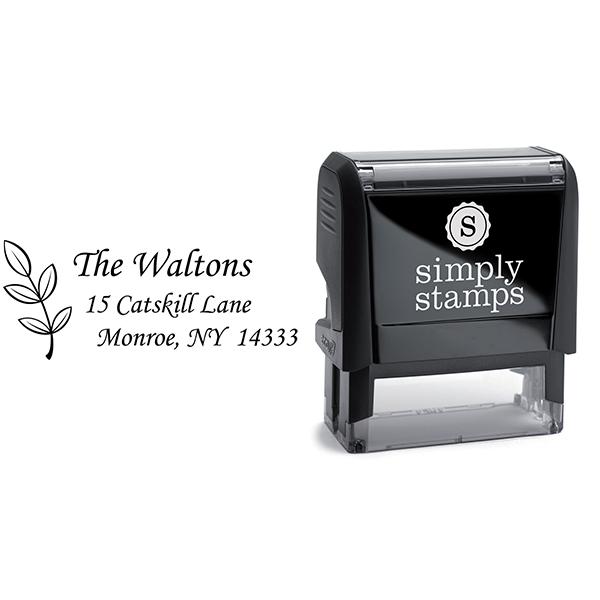 Walton Leaf Stem Address Stamp Body and Design