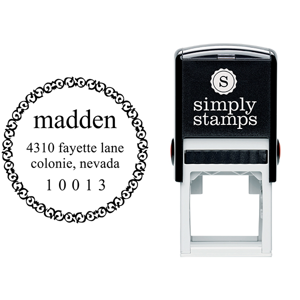 Madden Round Address Stamp Body and Design