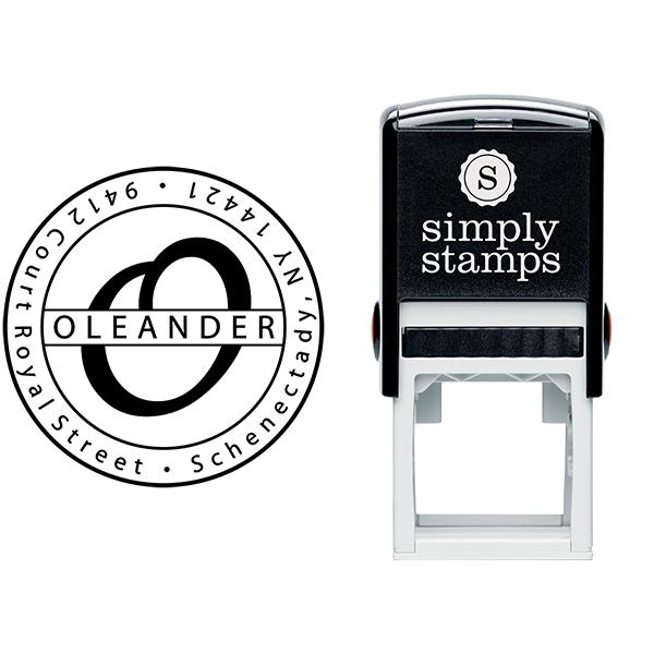 Oleander Round Address Stamp Body and Design