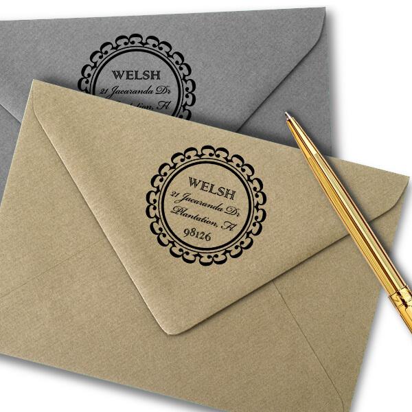 Welsh Round Address Stamp Imprint Example