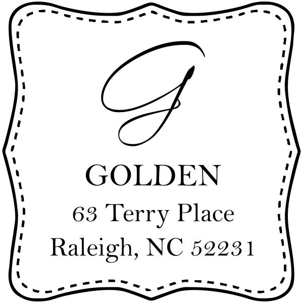 Golden square custom address stamp