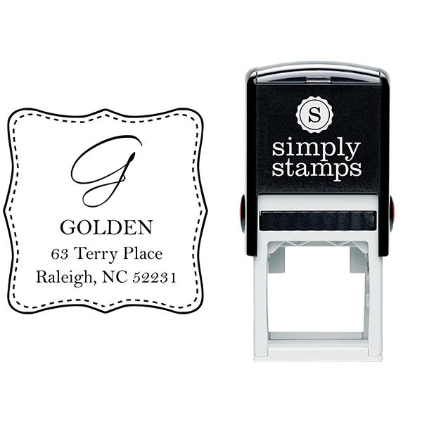Golden Square Address Stamp Body and Design