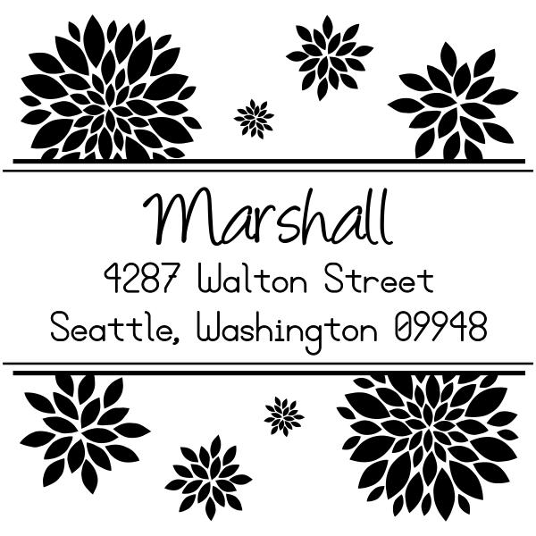 custom flower address stamp design