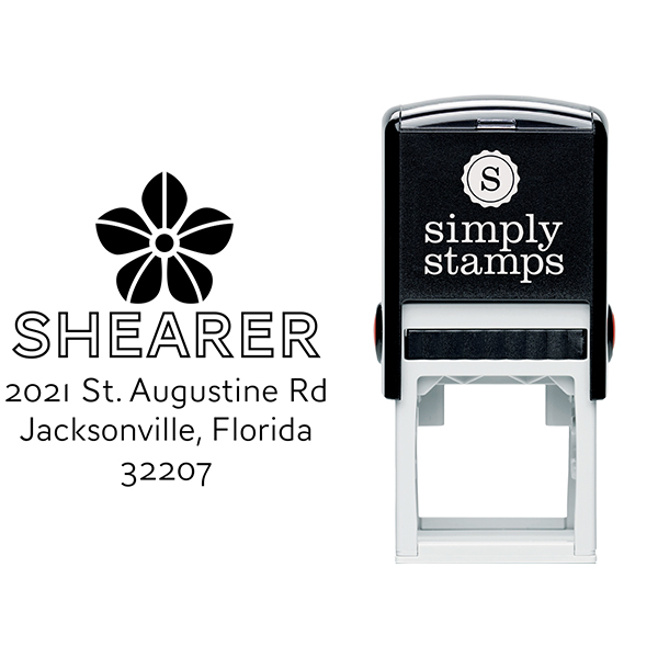Manning Flower Square Address Stamp Body and Design
