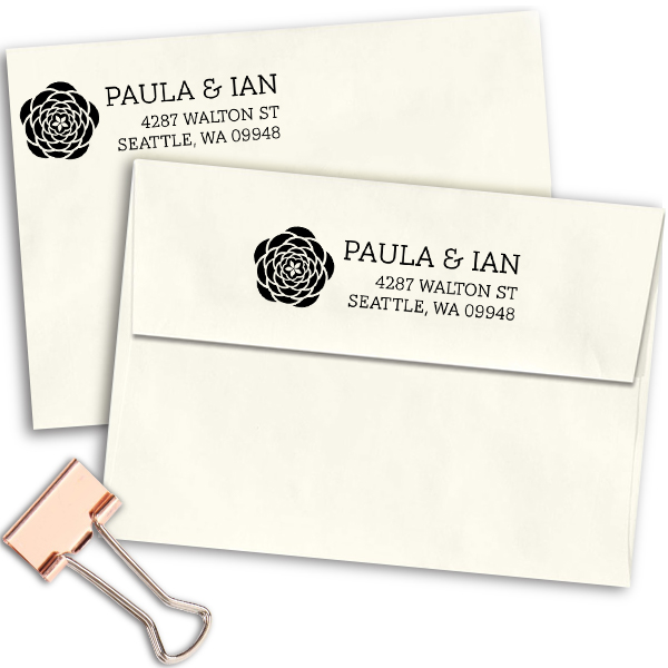 Walton Open Flower Address Stamp Imprint Example