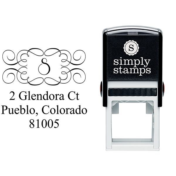 Glendora Curves Address Stamp Body and Design